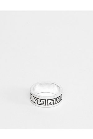 ASOS Band ring with column emboss in burnished silver tone