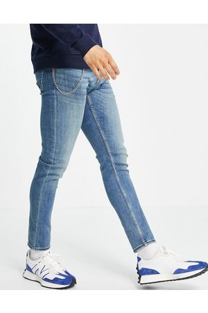 New Look Skinny jeans with chain in mid washed blue