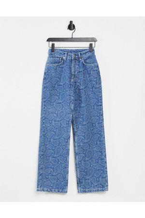 The Ragged Priest Straight leg jeans in paisley print denim