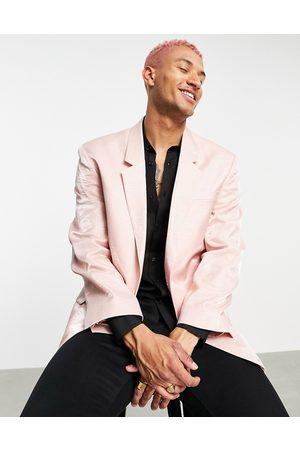 ASOS Slim hammered satin power shoulder longline blazer in pink