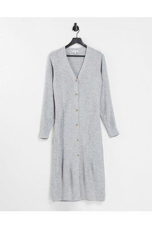 Pretty Lavish Peony longline button knit cardigan dress in grey