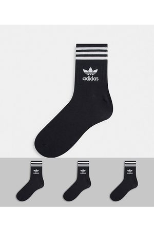 adidas Adicolor Trefoil 3 pack mid ankle socks in black