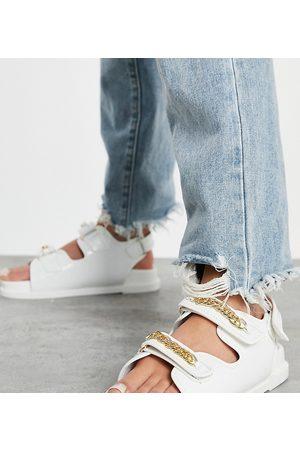 Public Desire Ellis chunky sandals with chain trim in white croc