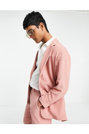 ASOS Soft tailored relaxed oversized suit jacket in pastel pink crepe