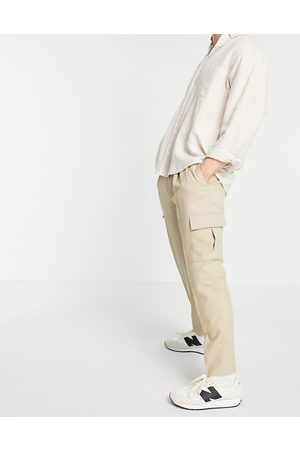 Topman Tapered cargo trousers in stone