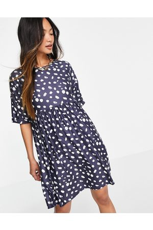 Urban Threads Mujer Casuales - Smock mini dress in navy splodge print