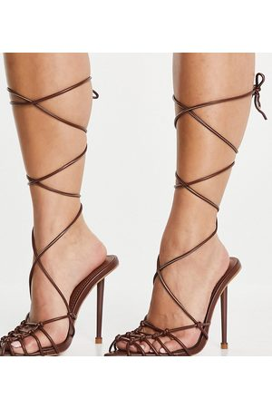 Simmi Wide Fit Simmi London Wide Fit Felicia caged heeled sandals in chocolate