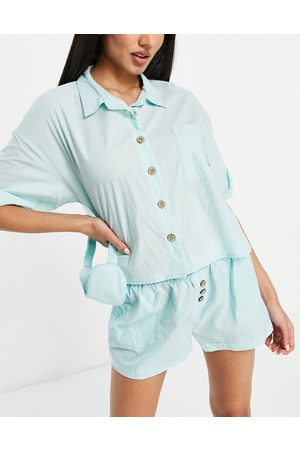 Cotton On Woven sleep top and bottoms set in green