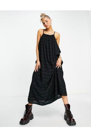 Object Strappy maxi dress in black