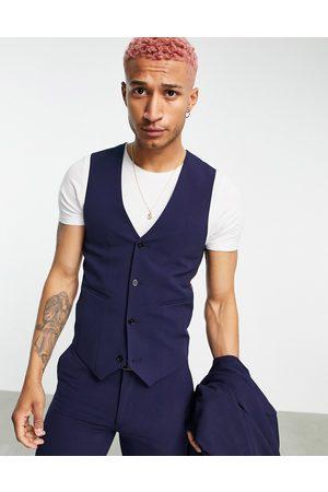 ASOS Super skinny waistcoat in navy