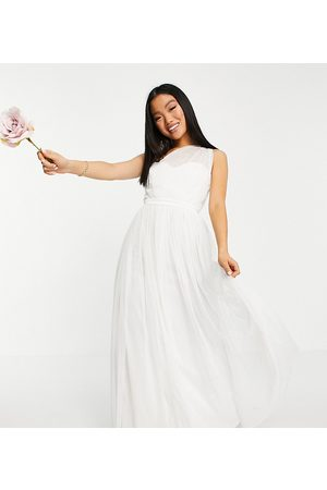 ANAYA Anaya With Love Petite tulle one shoulder maxi dress in white