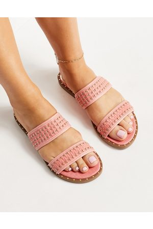 River Island Woven two strap flat sandal in coral