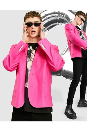 ASOS Oversized linen mix blazer in neon pink