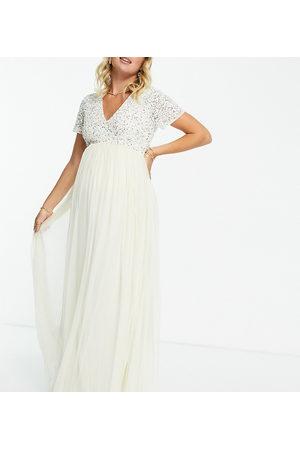 Maya Sequin maxi dress in ecru