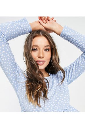 Wednesday's Girl Relaxed smock top with peplum hem in smudge spot