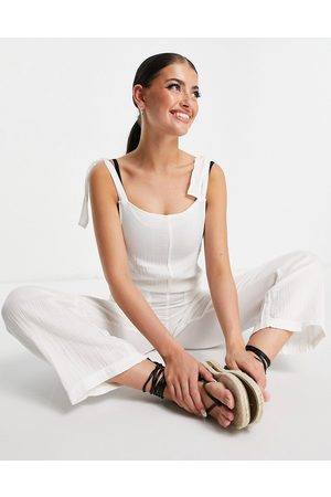 Billabong On The Road tie up jumpsuit in white