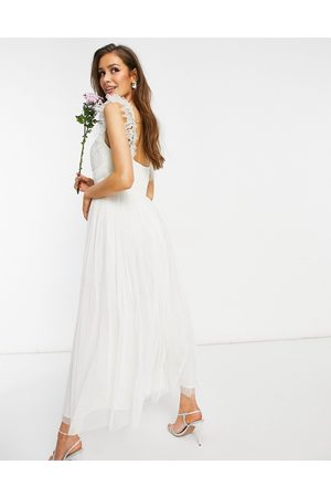 ANAYA With Love tulle frill sleeve midaxi dress in white