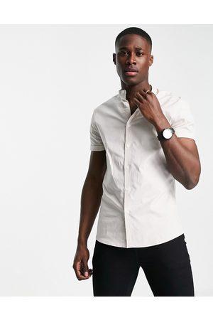 ASOS Skinny fit shirt with grandad collar in pale pink