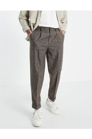 ASOS Oversized tapered wool mix smart trouser in stone puppy tooth