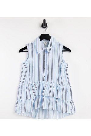 River Island Frill hem striped sleeveless shirt in blue
