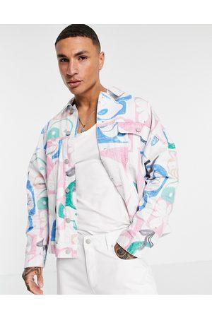 ASOS Hombre De mezclilla - Denim jacket with graffiti print in white