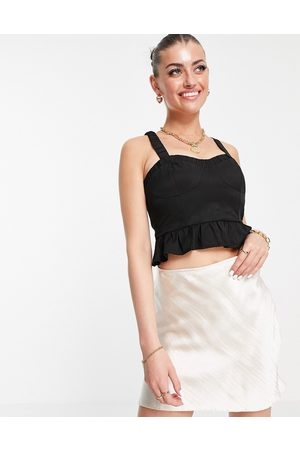 Fashion Union Structured bodice top with cup detail and peplum hem