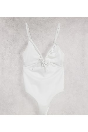 ASOS ASOS DESIGN tall recycled ruched tie swimsuit in white