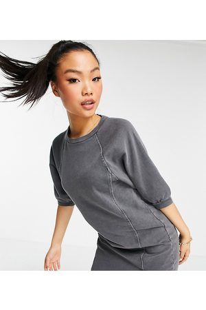 Noisy May Mini sweat dress with puff sleeves in washed grey
