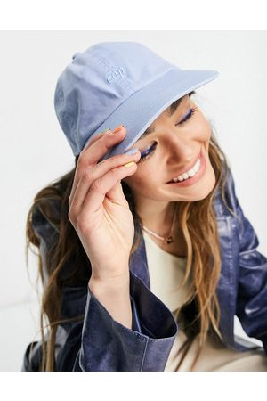 Weekday Tip organic cotton eco embroidered slogan cap in blue