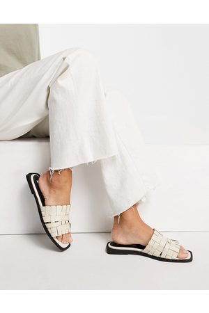 ASRA Syril flat woven sandals in milk leather