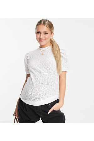 Pieces Maternity High neck puff sleeve blouse in cream