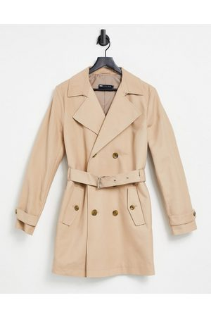 ASOS Shower resistant double breasted trench coat in stone