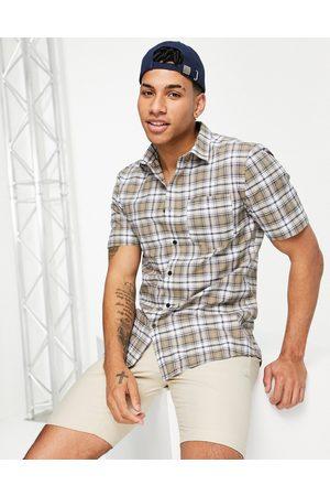 River Island Short sleeve slim check shirt in stone