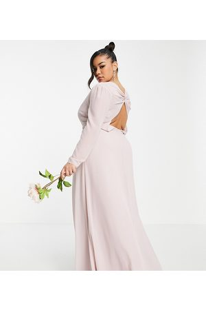 TFNC Bridesmaid wrap front maxi dress with back detail in mink