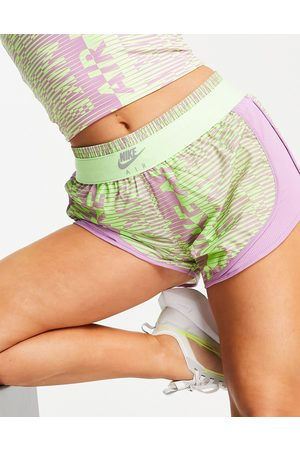 Nike Nike Air Running tempo shorts in lime and lilac print