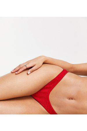 Free Society Exclusive mix and match scrunch high leg high waist bikini bottom in red