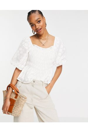Y.A.S Shirred top with puff sleeves in white