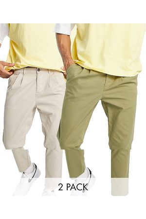 ASOS 2 pack cigarette chinos with pleats in dark khaki and beige save