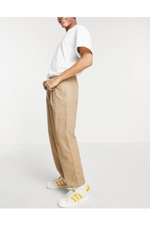 ASOS Hombre Chinos - Wide leg trousers with pleats in linen mix