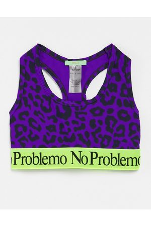 ARIES Bra top with contrast taping in bright leopard print