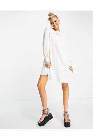 Object Mini smock dress with lace detail in white