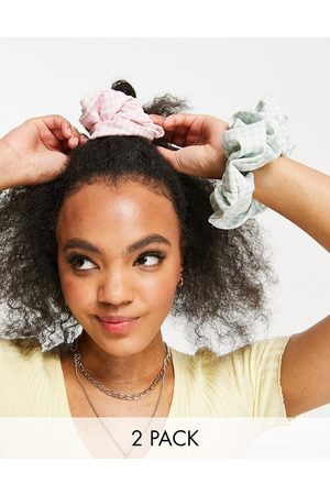 My Accessories London oversized hair scrunchie multipack x 2 in gingham