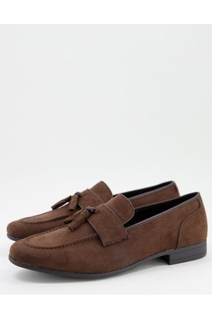 ASOS Tassel loafers in brown faux suede
