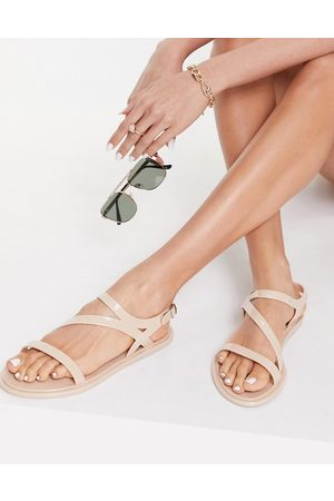 London Rebel Strappy jelly sandals in pink