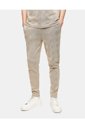 Topman Check joggers in stone