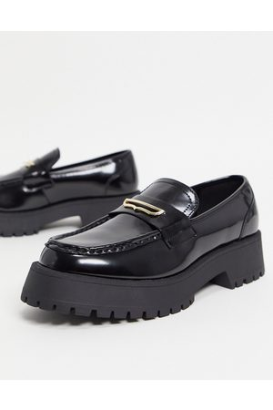 ASOS Loafers in black faux leather on chunky sole