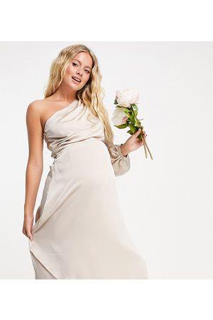 TFNC Mujer Vestidos de noche - Bridesmaid satin one shoulder long sleeve maxi dress in mink