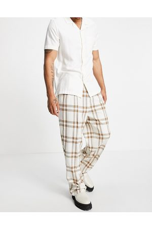 ASOS Hombre Chinos - Wide leg smart trouser in crepe cream check