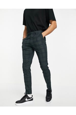 ASOS Skinny suit trousers in tonal green and navy check