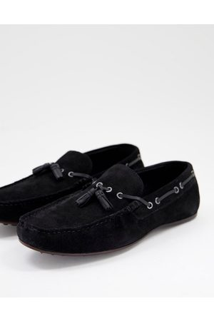 ASOS Driving shoes in black suede with lace detail